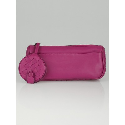 Bottega Veneta Purple Woven Intrecciato Leather  Cosmetic Pouch