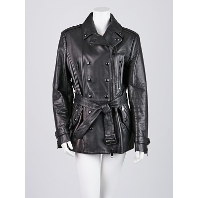 Burberry Black Leather Double Breasted Jacket Size 12
