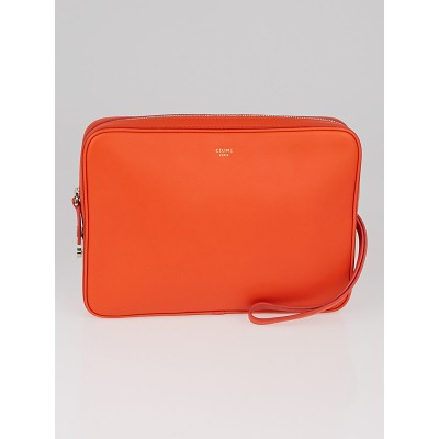 Celine Orange Nappa Leather Side Lock Dragonne Clutch Bag