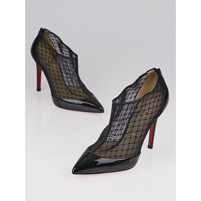 Christian Louboutin Black Fishnet and Patent Leather Filette 120 Booties Size 6.5/37
