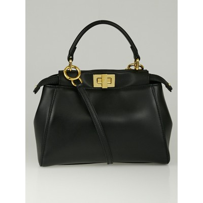 Fendi Black Nappa Leather Mini Peekaboo Satchel Bag 8BN244