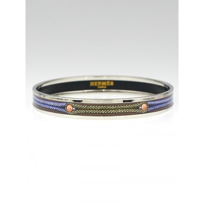 Hermes Multicolor Brandenbourg Printed Enamel Palladium Narrow Bangle Bracelet