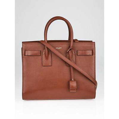 Yves Saint Laurent Brown Leather Small Sac de Jour Tote Bag