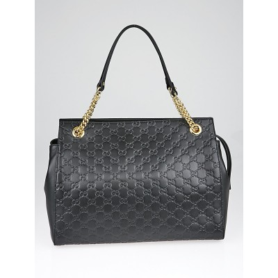 Gucci Black Guccissima Leather Soft Signature Shoulder Bag