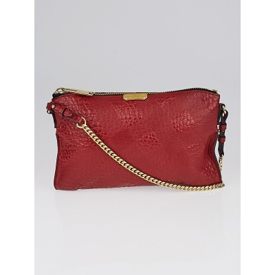 Burberry Red Signature Grain Check Embossed Leather Peyton Crossbody Bag
