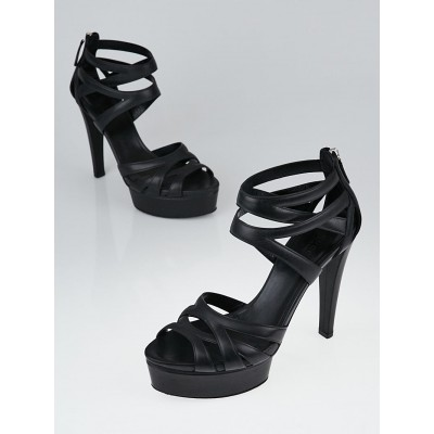 Gucci Black Leather Lifford Ankle Wrap Peep-Toe Sandals Size 6.5/37