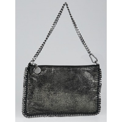 Stella McCartney Silver Metallic Shaggy Deer Faux Leather Chain Clutch Bag