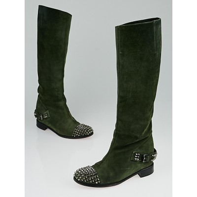 Christian Louboutin Green Suede Egoutina Flat Boots Size 6.5/37