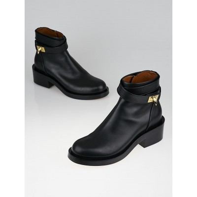Givenchy Black Leather Shark Lock Boots Size 39.5/40