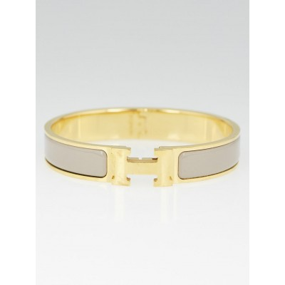Hermes Beige Enamel Gold Plated Clic H GM Narrow Bracelet