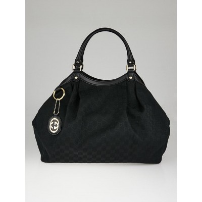 Gucci Black GG Canvas Large Sukey Tote Bag
