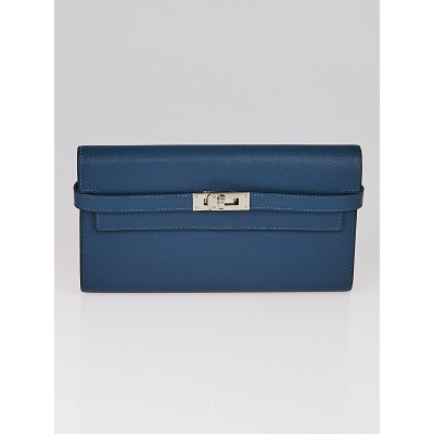 Hermes Blue Thalassa Epsom Leather Palladium Plated Kelly Long Wallet