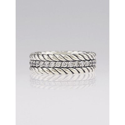David Yurman Sterling Silver and Pave Diamond Band Size 11