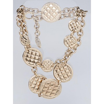 Chanel Goldtone Metal Quilted CC Medallion Long Chain Necklace