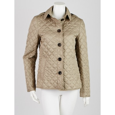 Burberry Brit Tan Quilted Polyester Jacket Size S