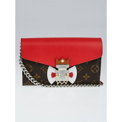Louis Vuitton Limited Edition Rouge Monogram Tribal Mask Chain Wallet Clutch Bag