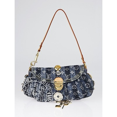 Louis Vuitton Limited Edition Blue Denim Monogram Denim Mini Pleaty Raye Customise Bag
