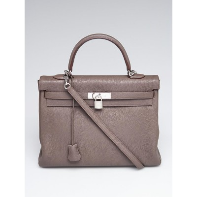 Hermes 35cm Etain Togo Leather Palladium Plated Kelly Retourne Bag