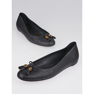 Gucci Black Leather Bamboo Bow Tassel Ballet Flats Size 7.5/38