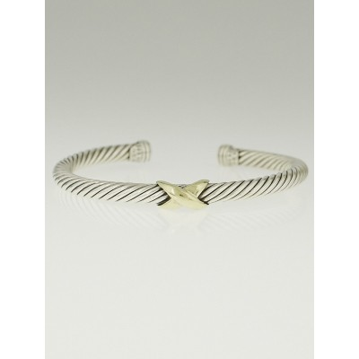 David Yurman 5mm Sterling Silver and 14k Gold Cable Crossover X Bracelet