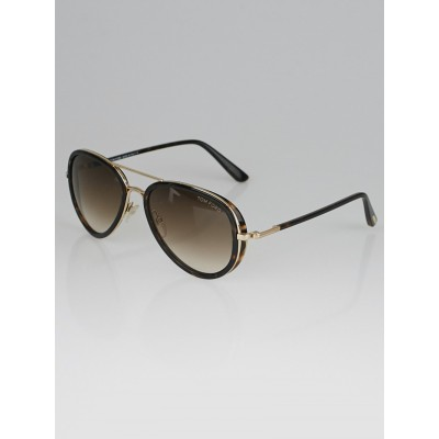 Tom Ford Tortoise Shell Frame Miles Aviator Sunglasses - TF341