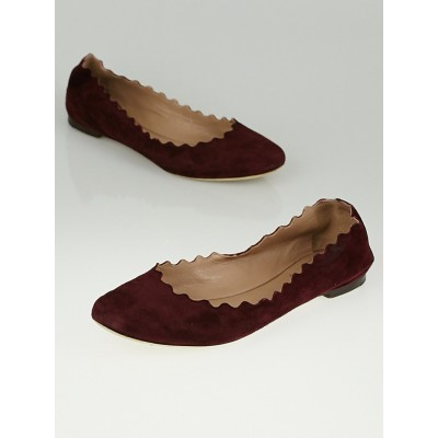 Christian Louboutin Burgundy Suede Leather Lauren Scalloped Ballet Flats Size 7.5/38