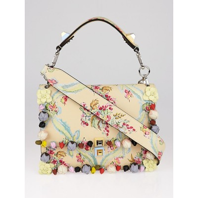 Fendi Yellow Multicolor Floral Print Leather Kan I Shoulder Bag 8BT283