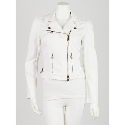 Burberry Britt White Denim Motorcycle Jacket Size 8