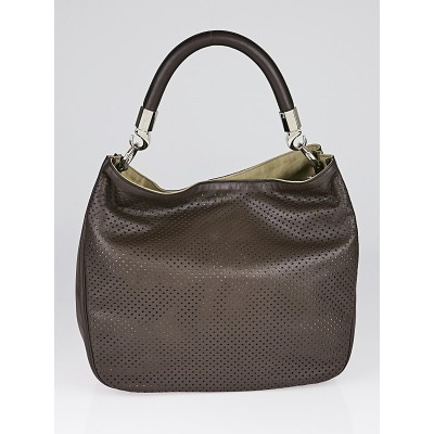 Yves Saint Laurent Brown Perforated Leather Small Roady Bag