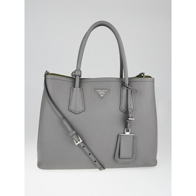 Prada Grey Saffiano Lux Leather Double Handle Small Tote Bag 1BG775