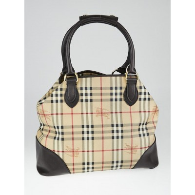 Burberry Haymarket Check Coated Canvas Large Tote Bag