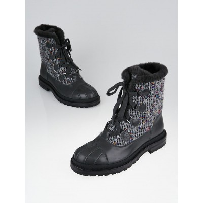 Chanel Grey Leather and Tweed Lace-up Short Boots Size 9.5/40