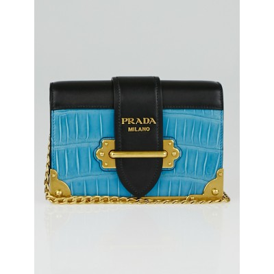 Prada Blue/Black Crocodile and Calfskin Leather Cahier Bag 1BH018
