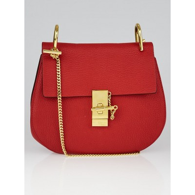 Chloe Red Pebbled Leather Small Drew Bag