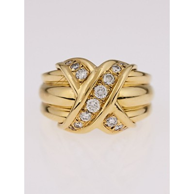 Tiffany & Co. 18k Yellow Gold and Diamond Signature X Ring Size 5