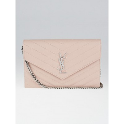 Yves Saint Laurent Pale Pink Chevron Quilted Grained Leather Metalasse Wallet on Chain Bag
