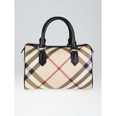 Burberry Black Patent Leather Supernova Check Coated Canvas Bowling Bag