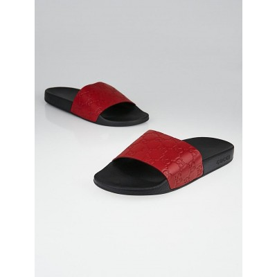 Gucci Red GG Leather and Rubber Slide Sandals Size 8.5/39