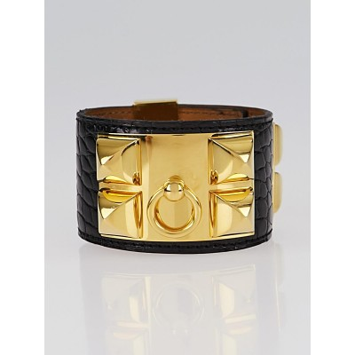 Hermes Black Matte Alligator Palladium Plated Collier de Chien Cuff Bracelet Size S