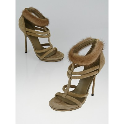 Gucci Grey Suede and Mink Camila T-Strap Sandals Size 6.5/37