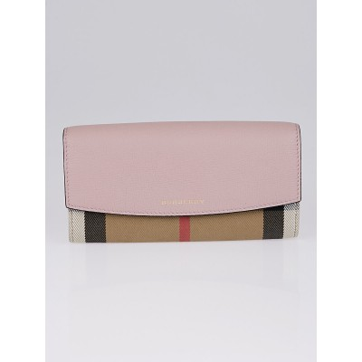 Burberry Nude Blush Pebble Leather House Check Grainporter Continental Wallet