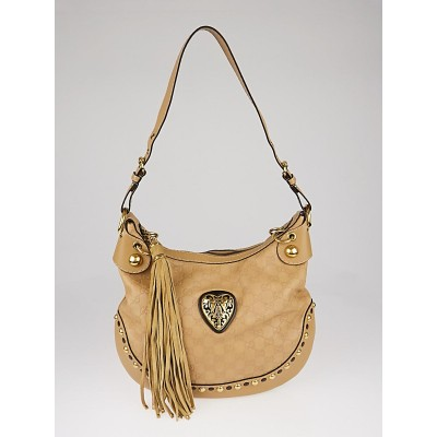 Gucci Beige Guccissima Leather Babouska Heart Hobo Bag