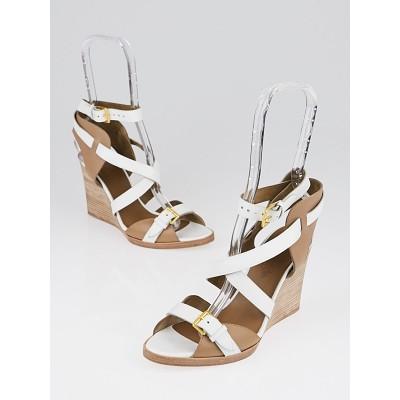 Hermes White/Beige Leather Giorno Wedges Size 7/37.5