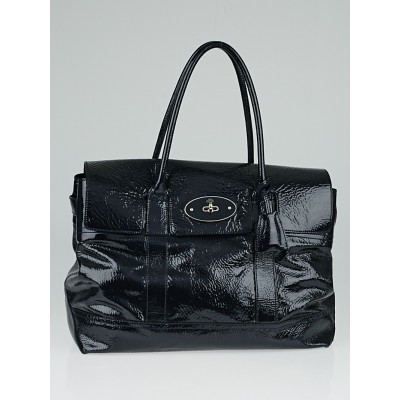 Mulberry Navy Blue Crinkled Patent Leather Holiday Bayswater Bag