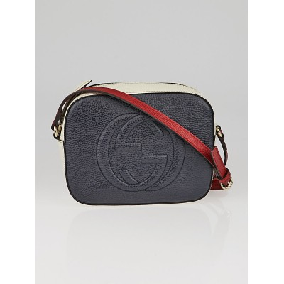 Gucci Red/White/Blue Pebbled Leather Soho Shoulder Bag
