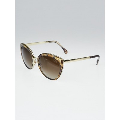 Chanel Brown Print Frame Gradient Tint Cat-Eye Sunglasses-4208