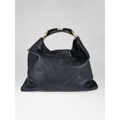 Gucci Navy Blue Leather Chain Horsebit Large Hobo Bag