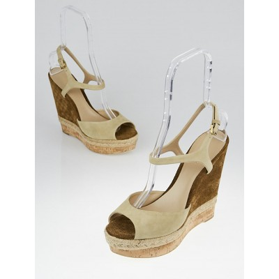 Gucci Beige/Brown Guccissima Suede Peep-Toe Espadrille Wedges Size 11/41.5
