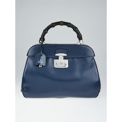 Gucci Blue Smooth Leather Lady Lock Bamboo Top Handle Large Bag