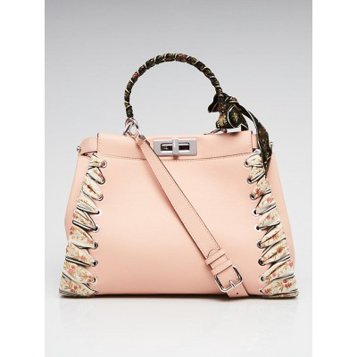 Fendi Baby Pink Leather and Ribbon Whipstitch Medium Peekaboo Bag 8BN290